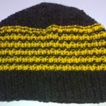Шапочка чёрно-жёлтая полосатая вид изнутри