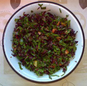 Лист красного салата, лист свёклы, помидор